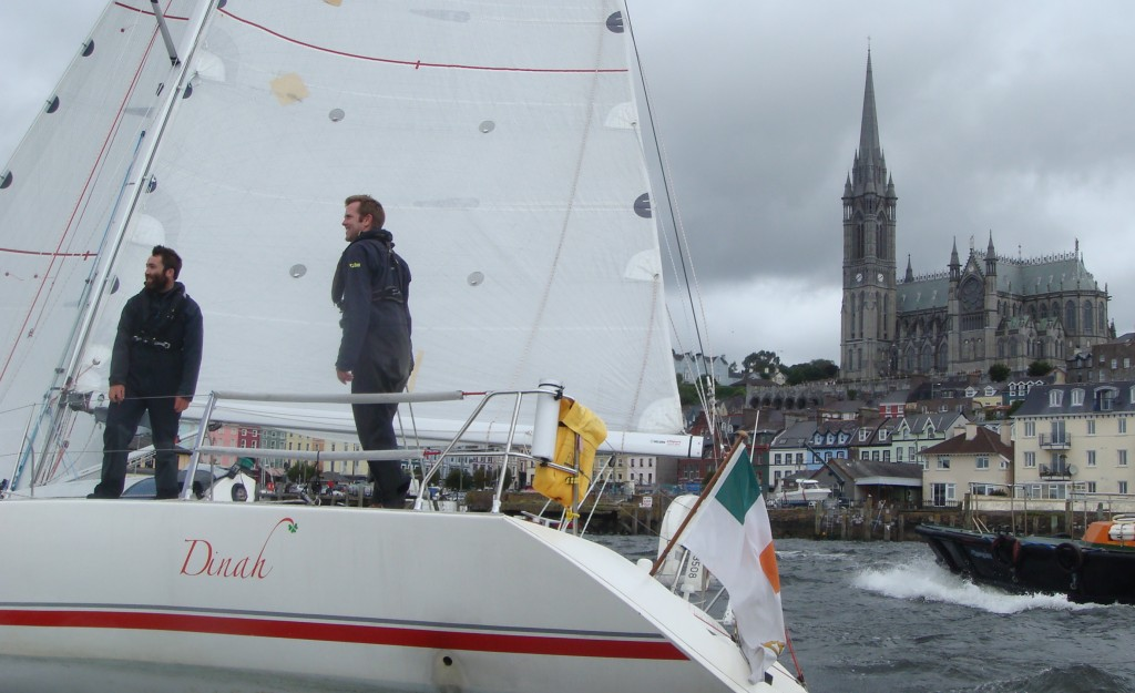 Barry Hurley and Andrew Boyle sailing in to Cobh on DInah back in 2009 after his OSTAR success.